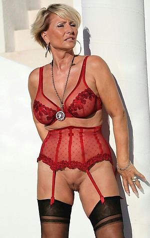 mature in lingerie posing nude